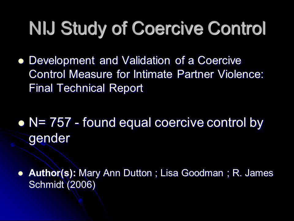 NIJ Study of Coercive Control