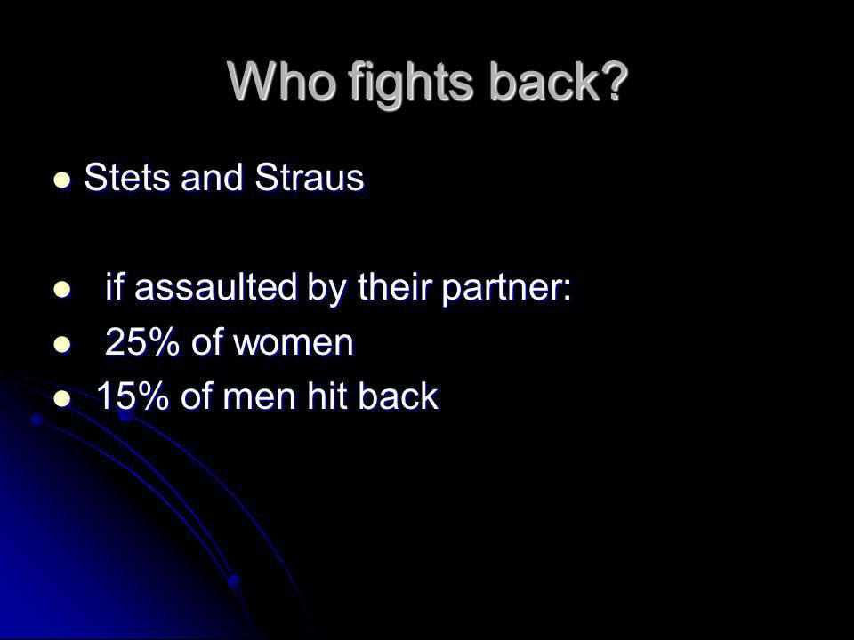 Who fights back Stets and Straus if assaulted by their partner: