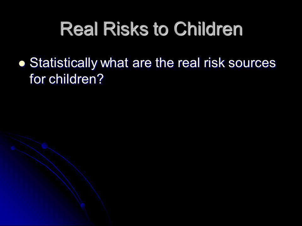 Real Risks to Children Statistically what are the real risk sources for children