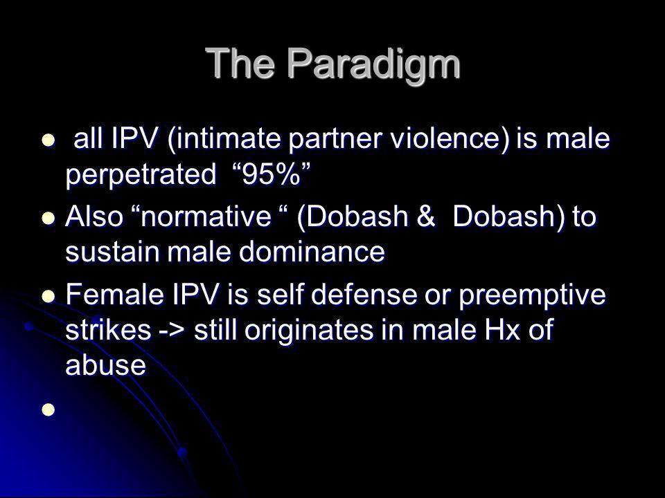 The Paradigm all IPV (intimate partner violence) is male perpetrated 95% Also normative (Dobash & Dobash) to sustain male dominance.
