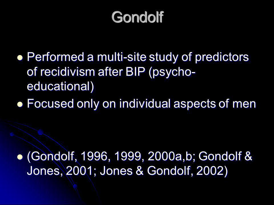 Gondolf Performed a multi-site study of predictors of recidivism after BIP (psycho-educational) Focused only on individual aspects of men.