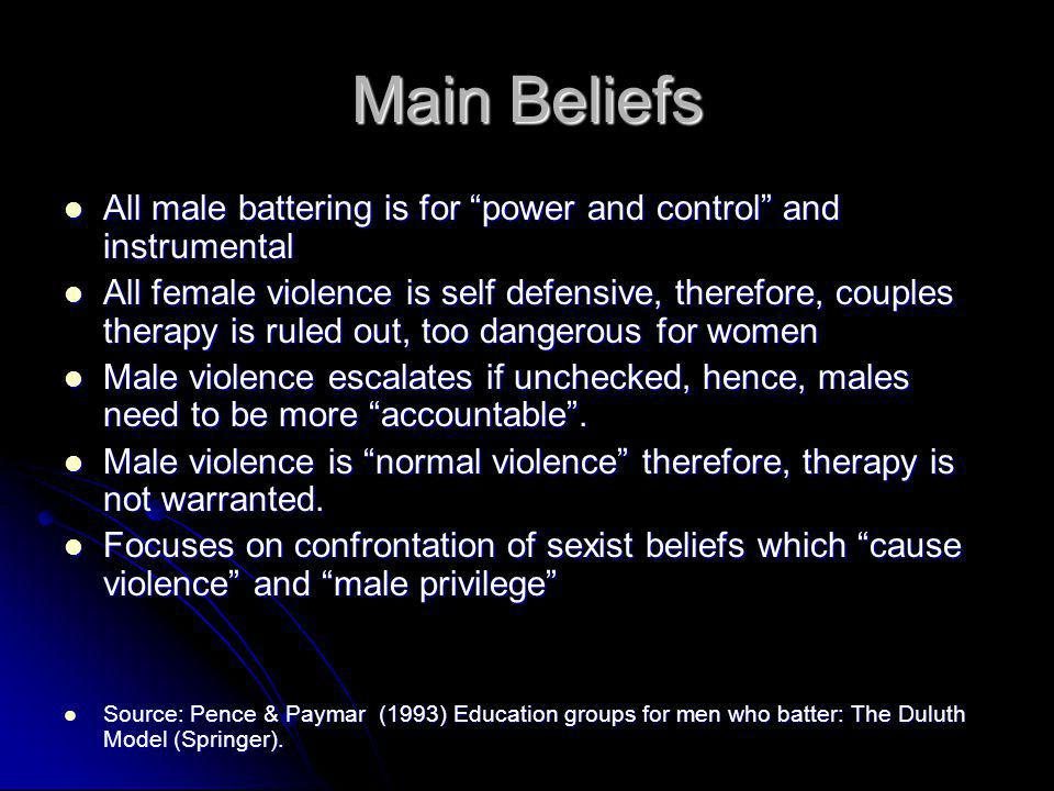Main Beliefs All male battering is for power and control and instrumental.