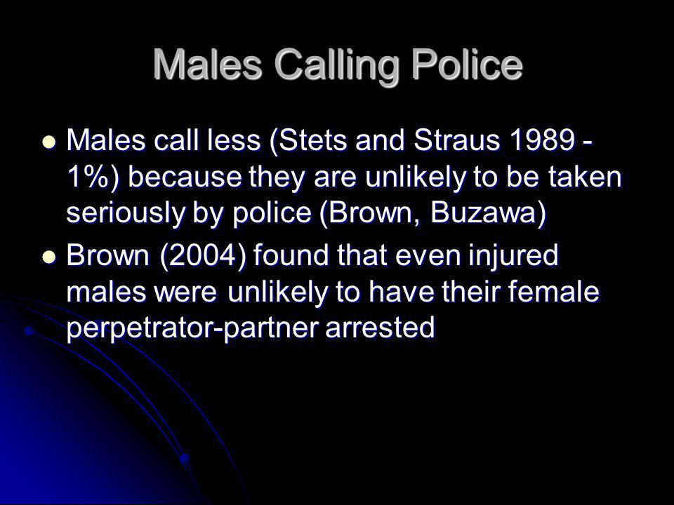 Males Calling Police Males call less (Stets and Straus 1989 - 1%) because they are unlikely to be taken seriously by police (Brown, Buzawa)