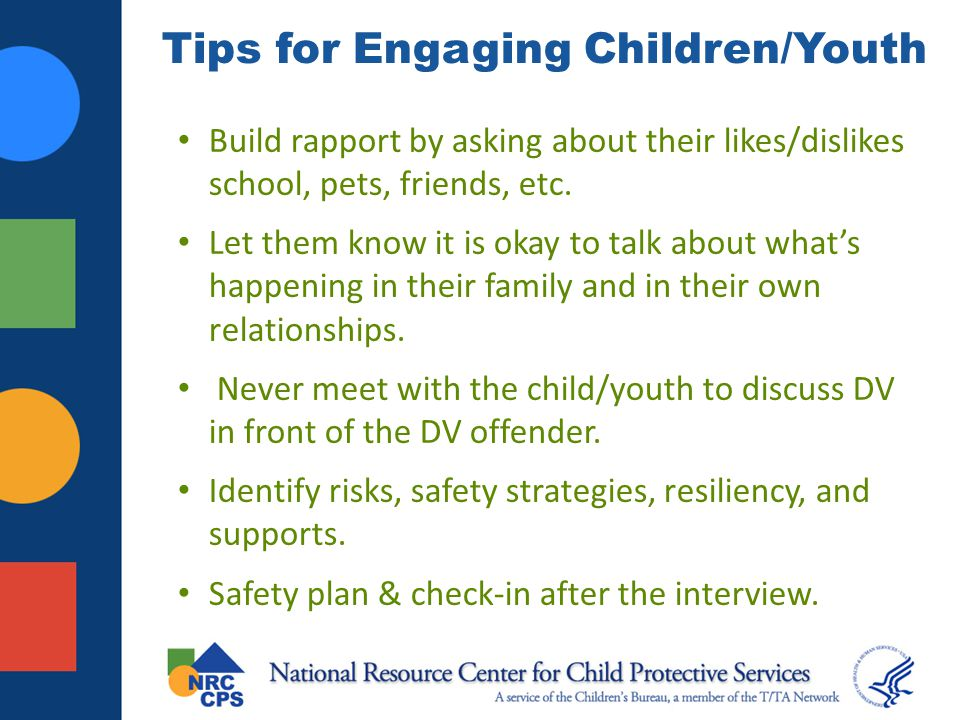 Tips for Engaging Children/Youth