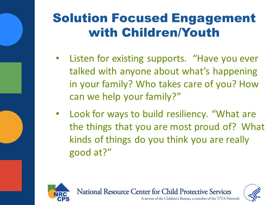 Solution Focused Engagement with Children/Youth