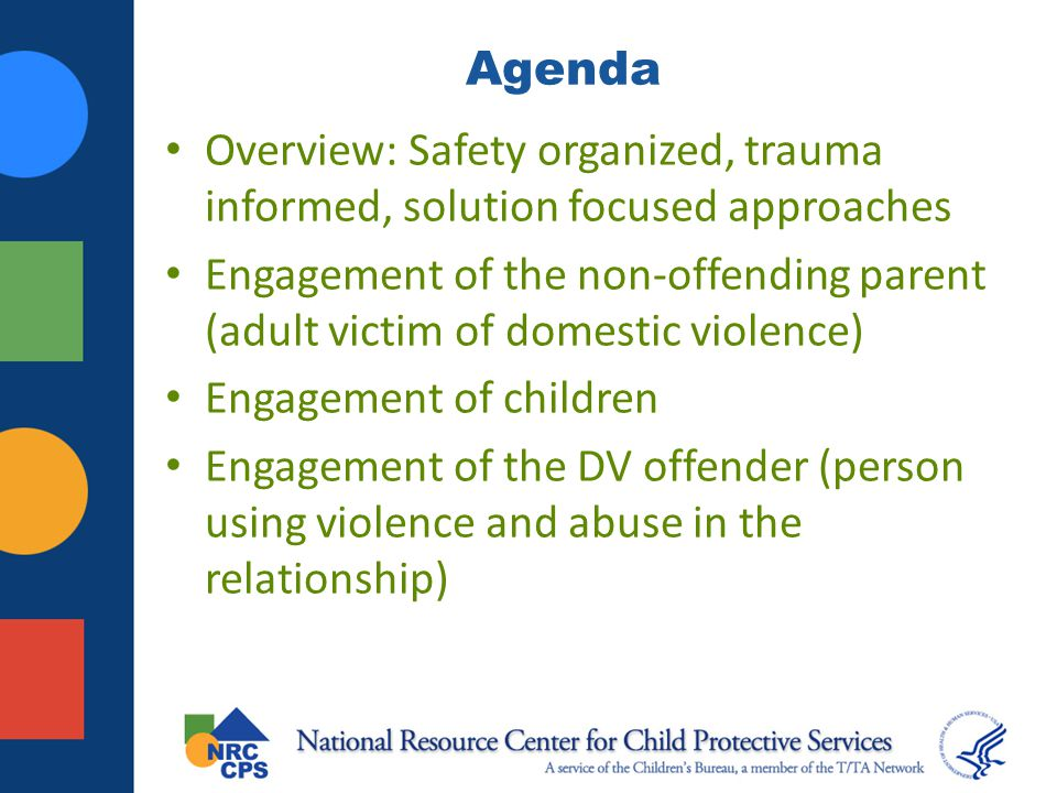 Agenda Overview: Safety organized, trauma informed, solution focused approaches.