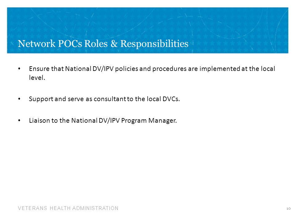 Network POCs Roles & Responsibilities