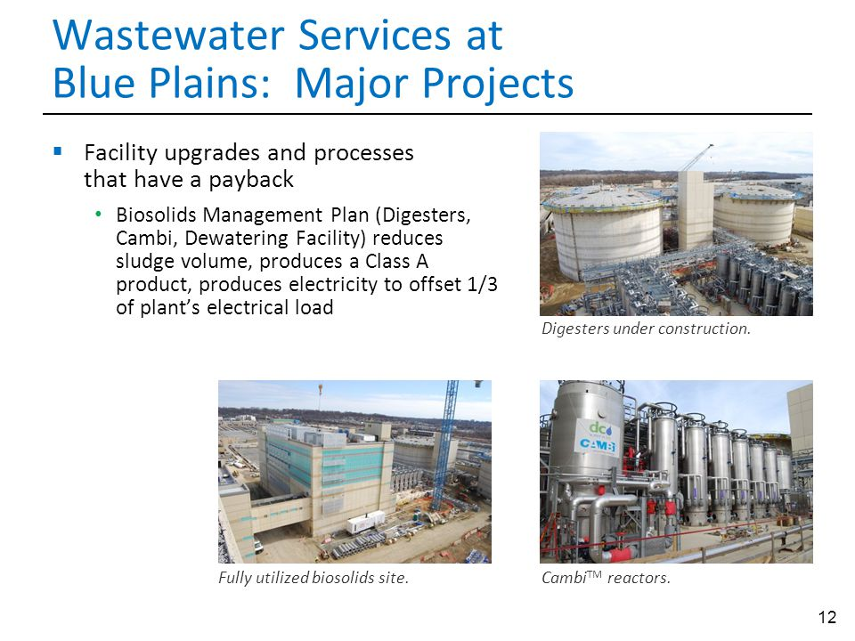 Wastewater Services at Blue Plains: Major Projects
