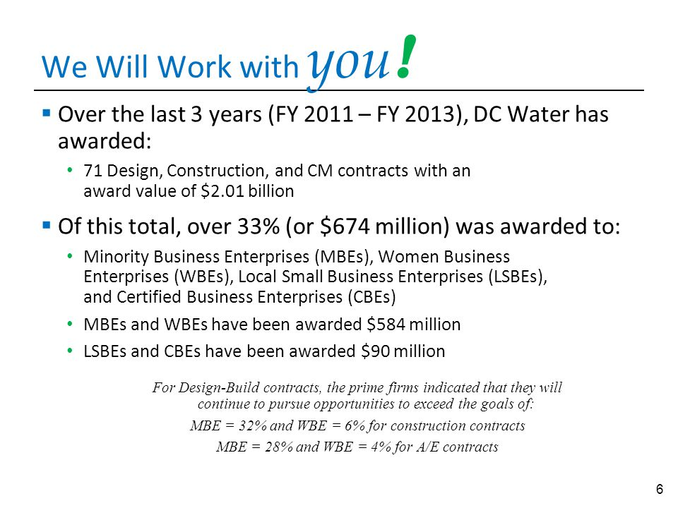 We Will Work with you! Over the last 3 years (FY 2011 – FY 2013), DC Water has awarded: