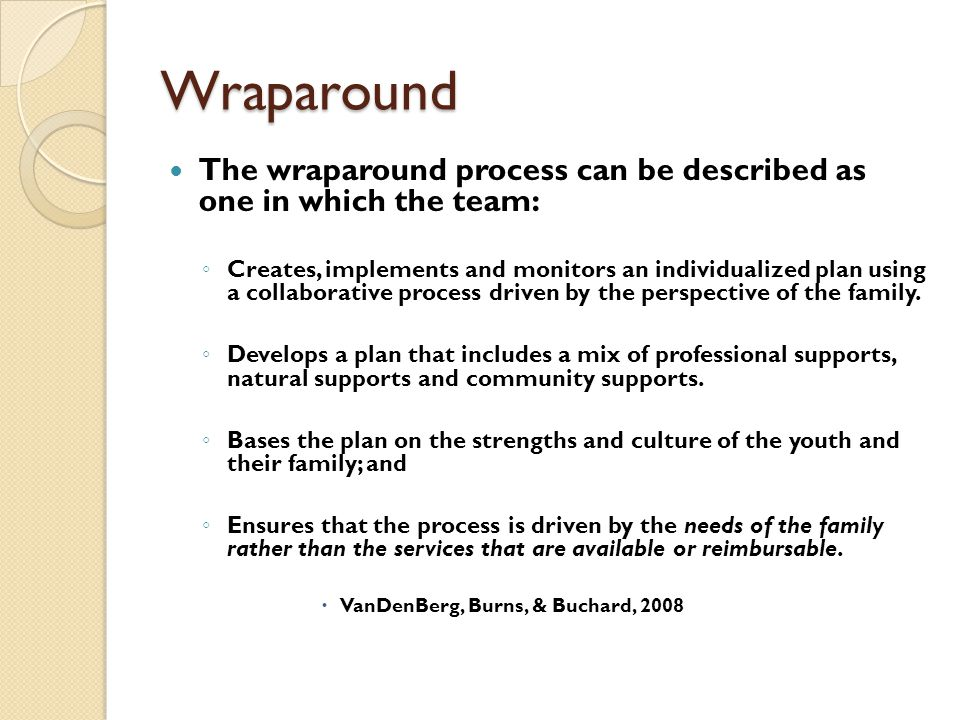Wraparound The wraparound process can be described as one in which the team: