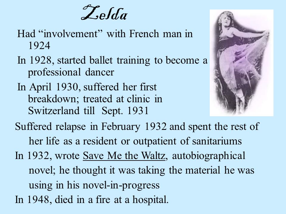 Zelda Had involvement with French man in 1924