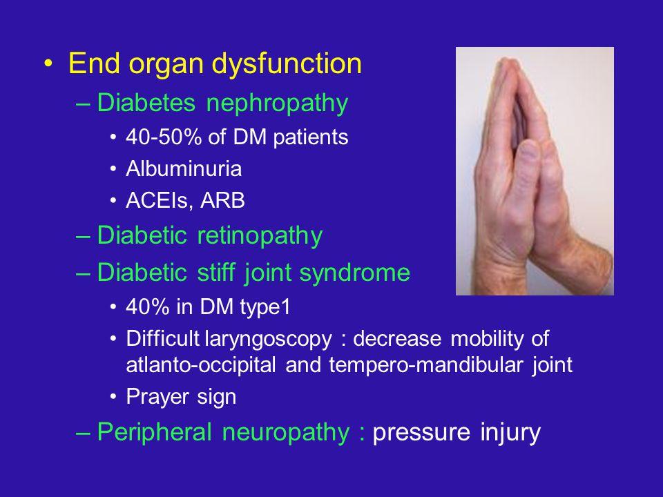 End organ dysfunction Diabetes nephropathy Diabetic retinopathy