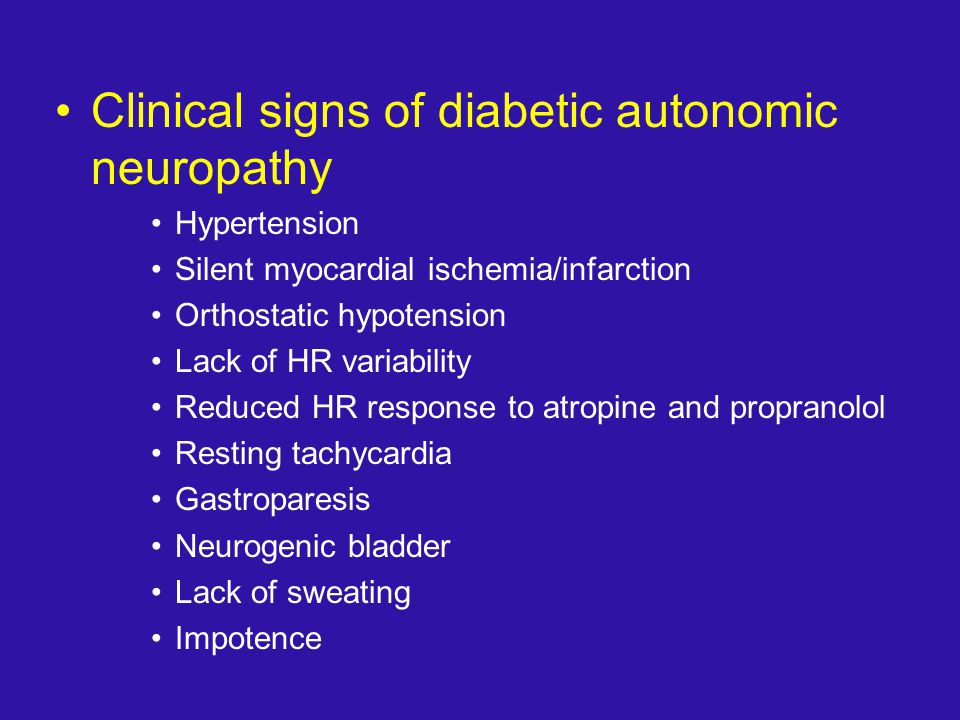 Clinical signs of diabetic autonomic neuropathy