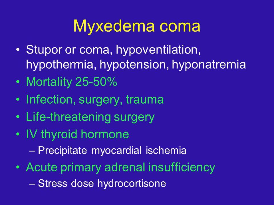 Myxedema coma Stupor or coma, hypoventilation, hypothermia, hypotension, hyponatremia. Mortality 25-50%