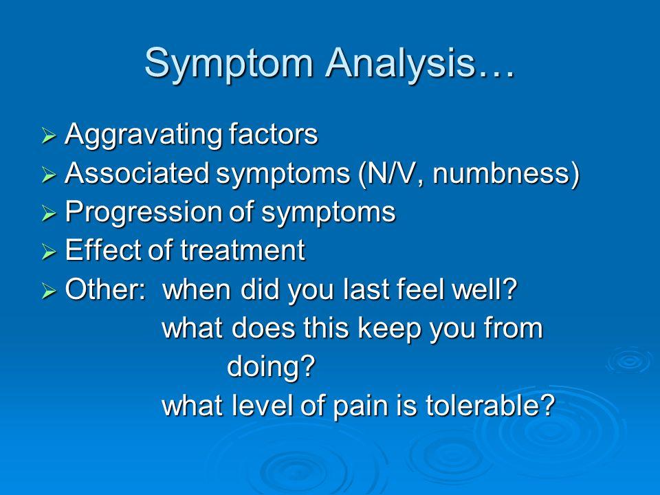 Symptom Analysis… Aggravating factors