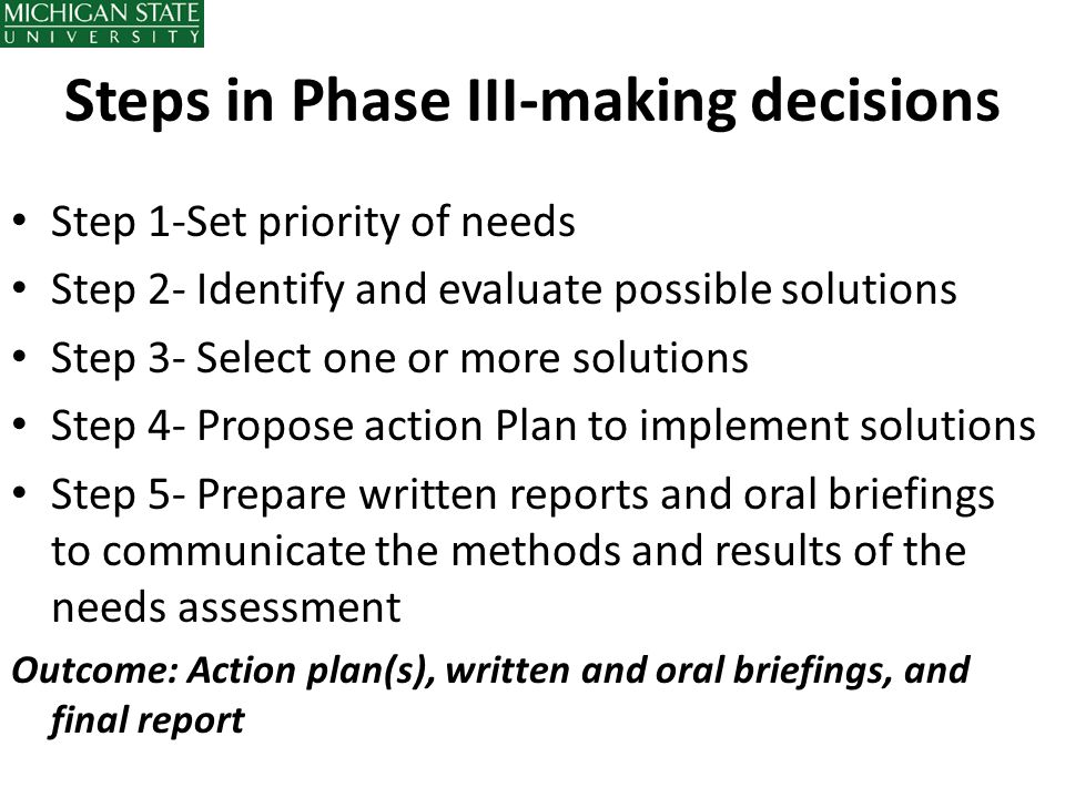 Steps in Phase III-making decisions