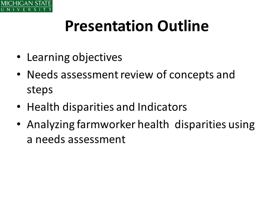Presentation Outline Learning objectives