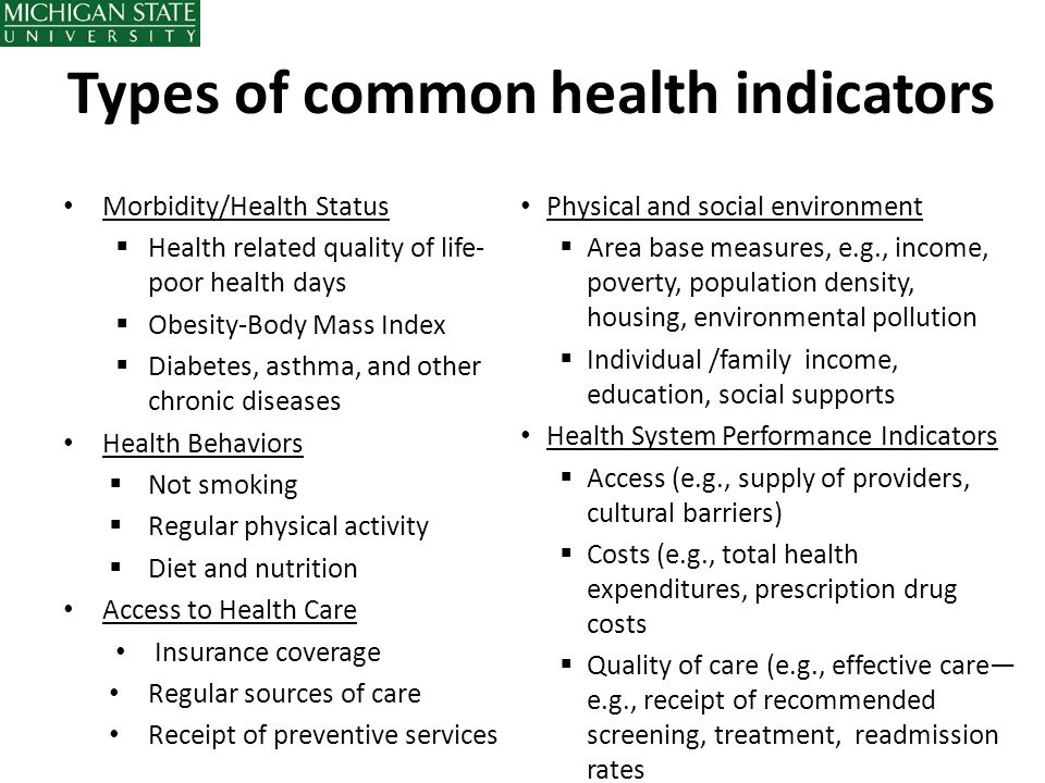 Types of common health indicators