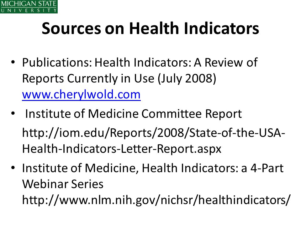 Sources on Health Indicators