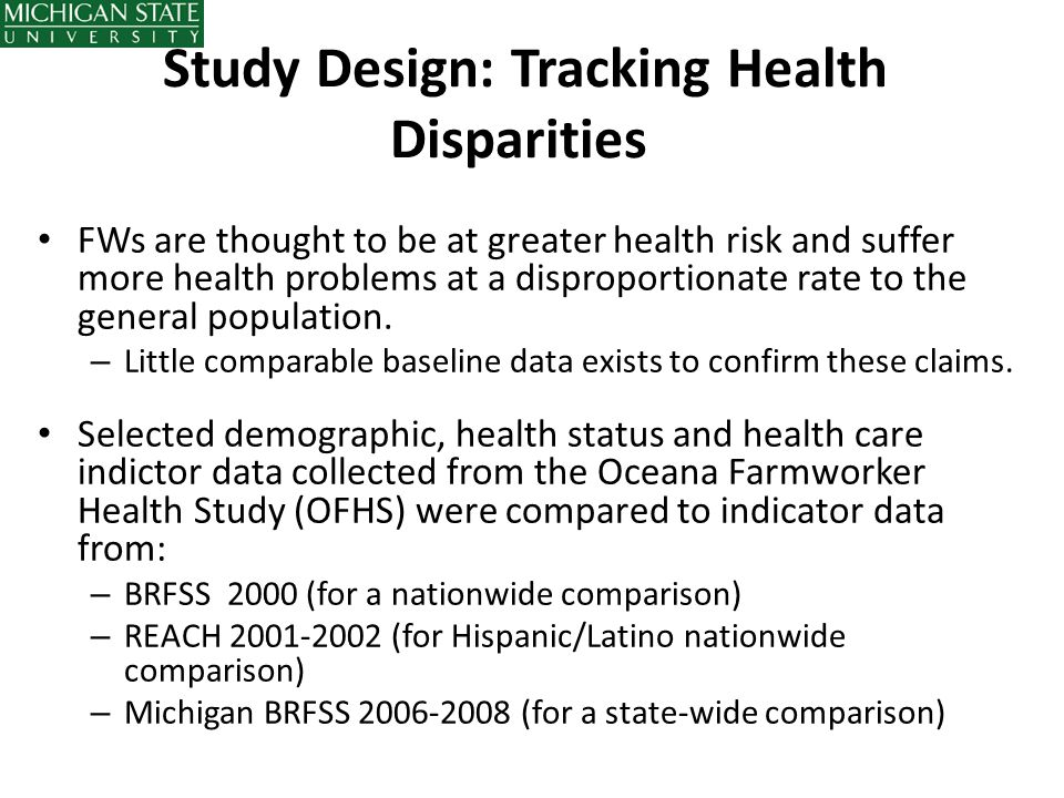 Study Design: Tracking Health Disparities