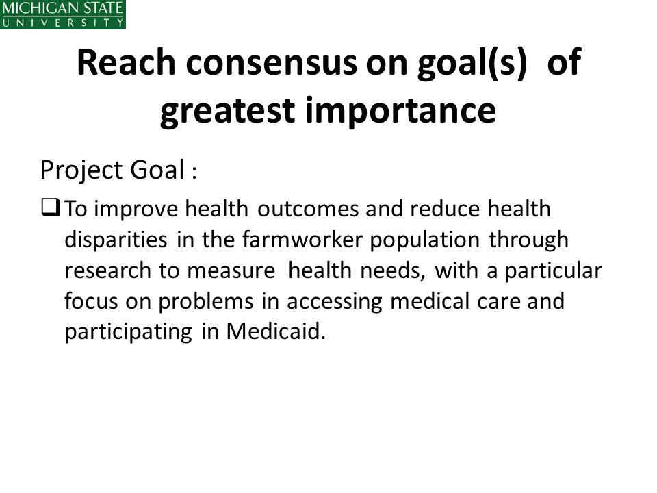 Reach consensus on goal(s) of greatest importance
