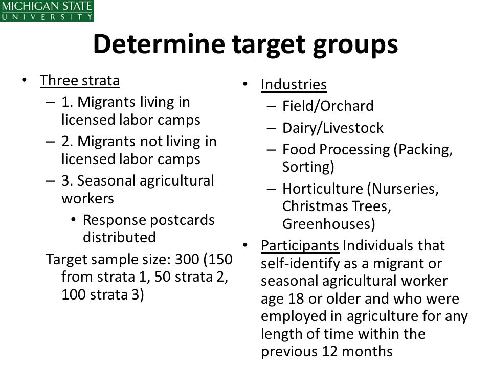Determine target groups