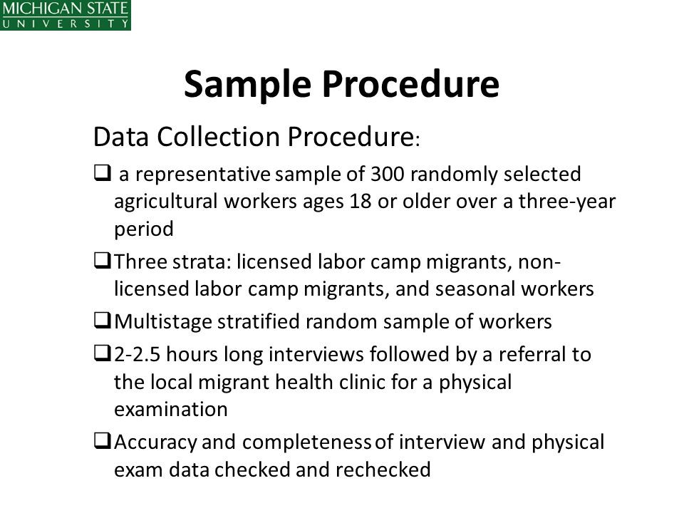 Sample Procedure Data Collection Procedure: