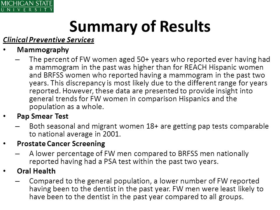 Summary of Results Clinical Preventive Services Mammography