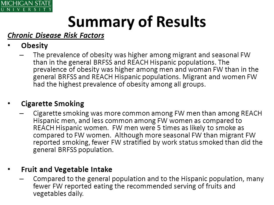 Summary of Results Chronic Disease Risk Factors Obesity