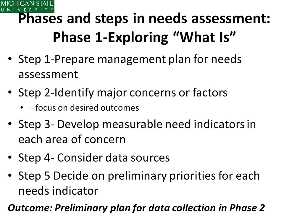 Phases and steps in needs assessment: Phase 1-Exploring What Is