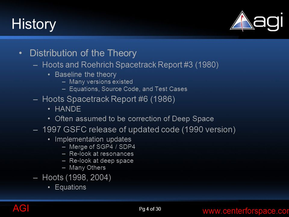 History Distribution of the Theory Hoots Spacetrack Report #6 (1986)
