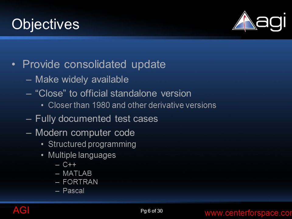 Objectives Provide consolidated update Make widely available