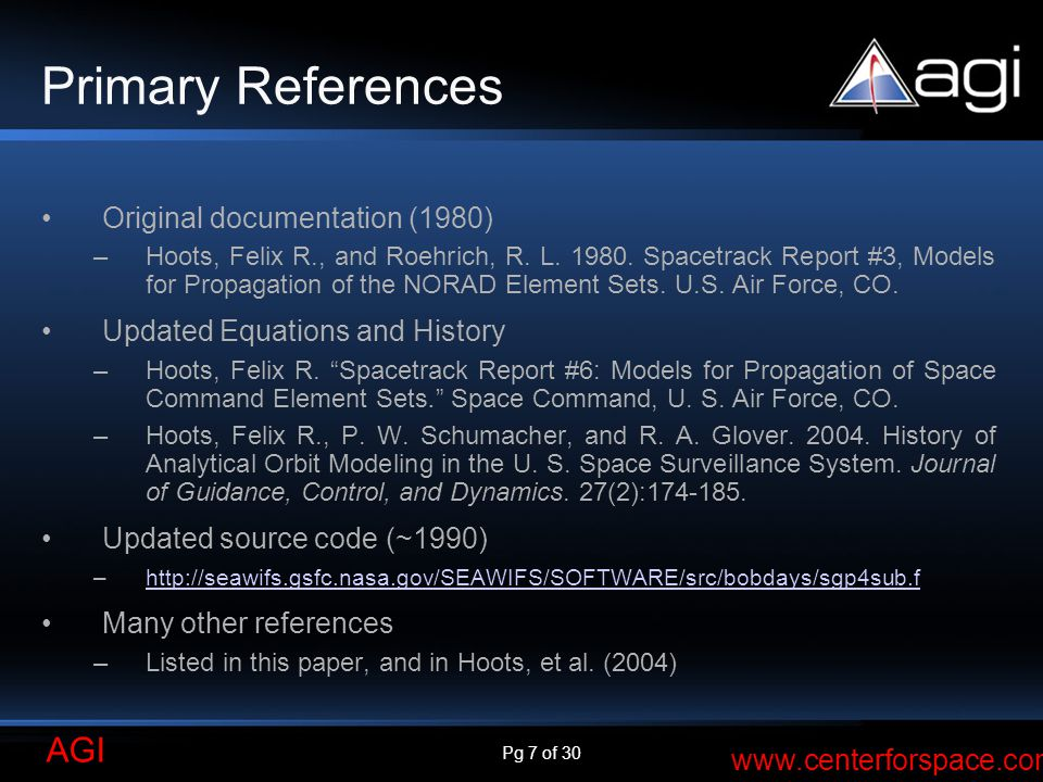 Primary References Original documentation (1980)