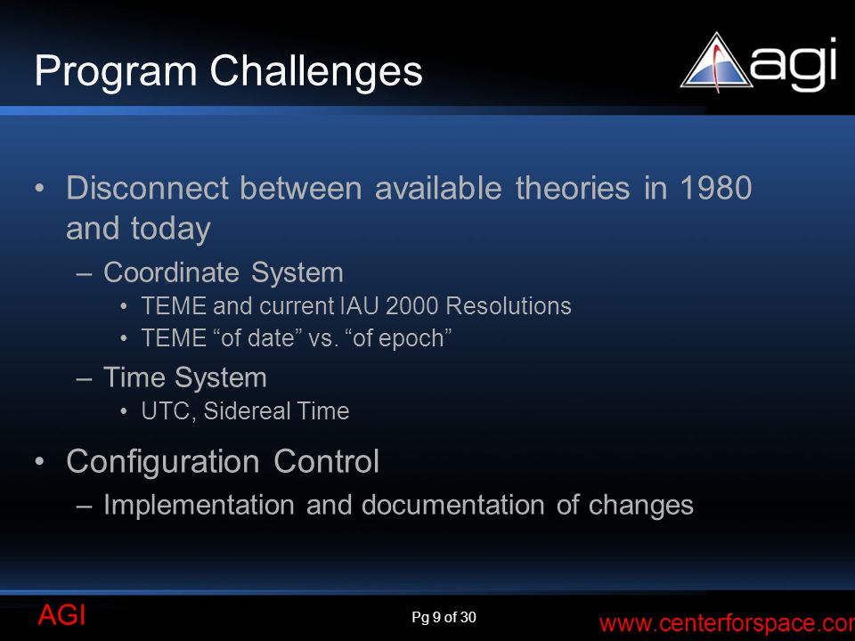 Program Challenges Disconnect between available theories in 1980 and today. Coordinate System. TEME and current IAU 2000 Resolutions.