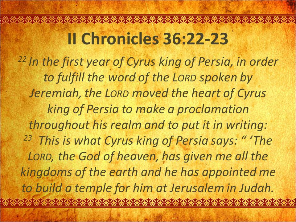 II Chronicles 36:22-23