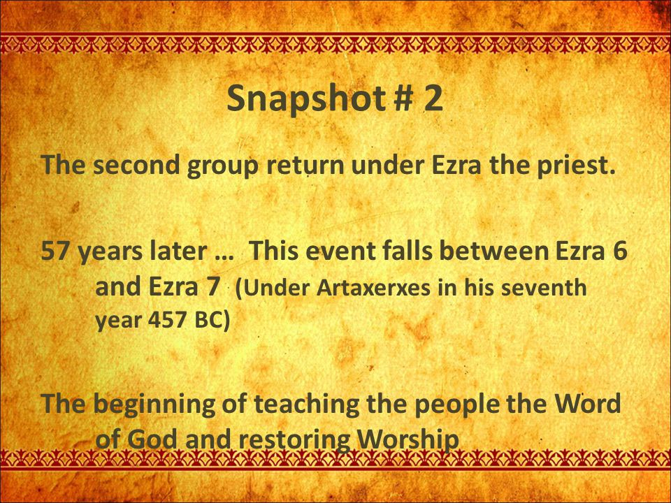Snapshot # 2 The second group return under Ezra the priest.