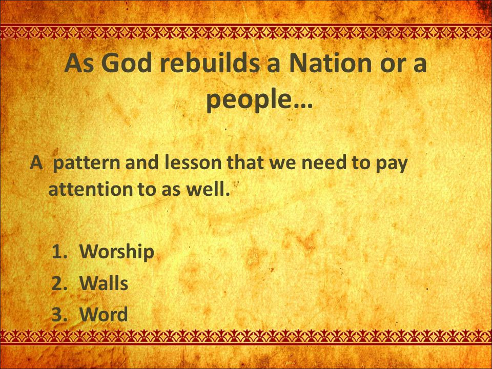 As God rebuilds a Nation or a people…