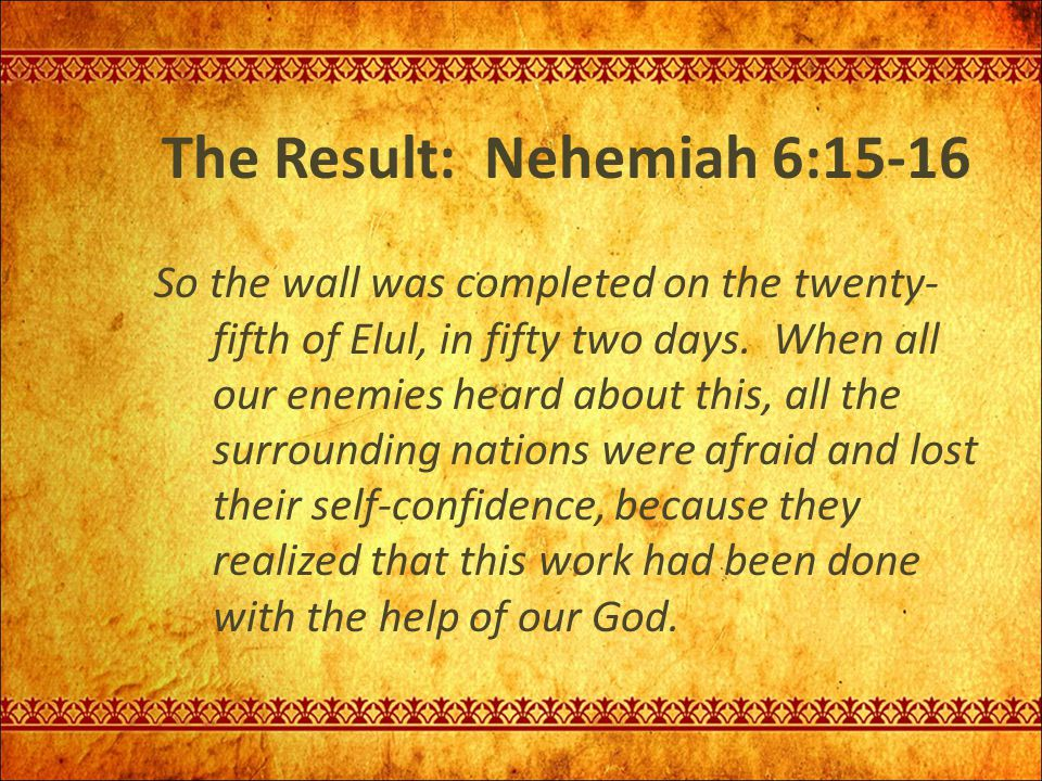 The Result: Nehemiah 6:15-16