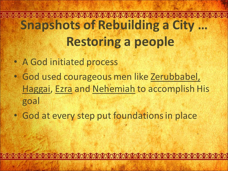 Snapshots of Rebuilding a City … Restoring a people