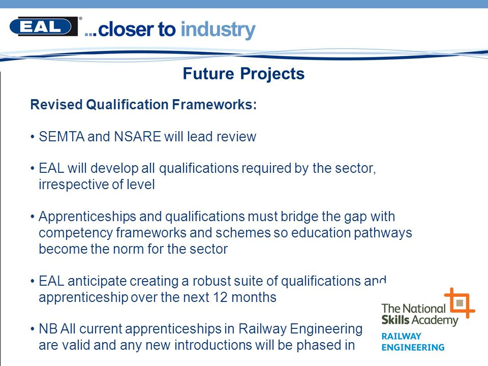 Future Projects Revised Qualification Frameworks: