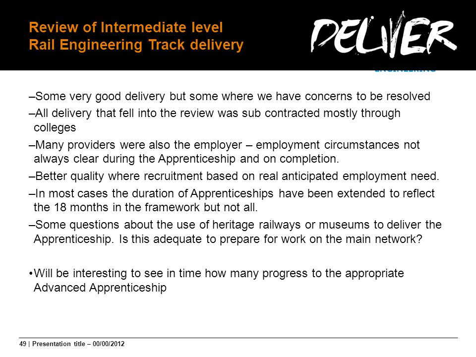 Review of Intermediate level Rail Engineering Track delivery
