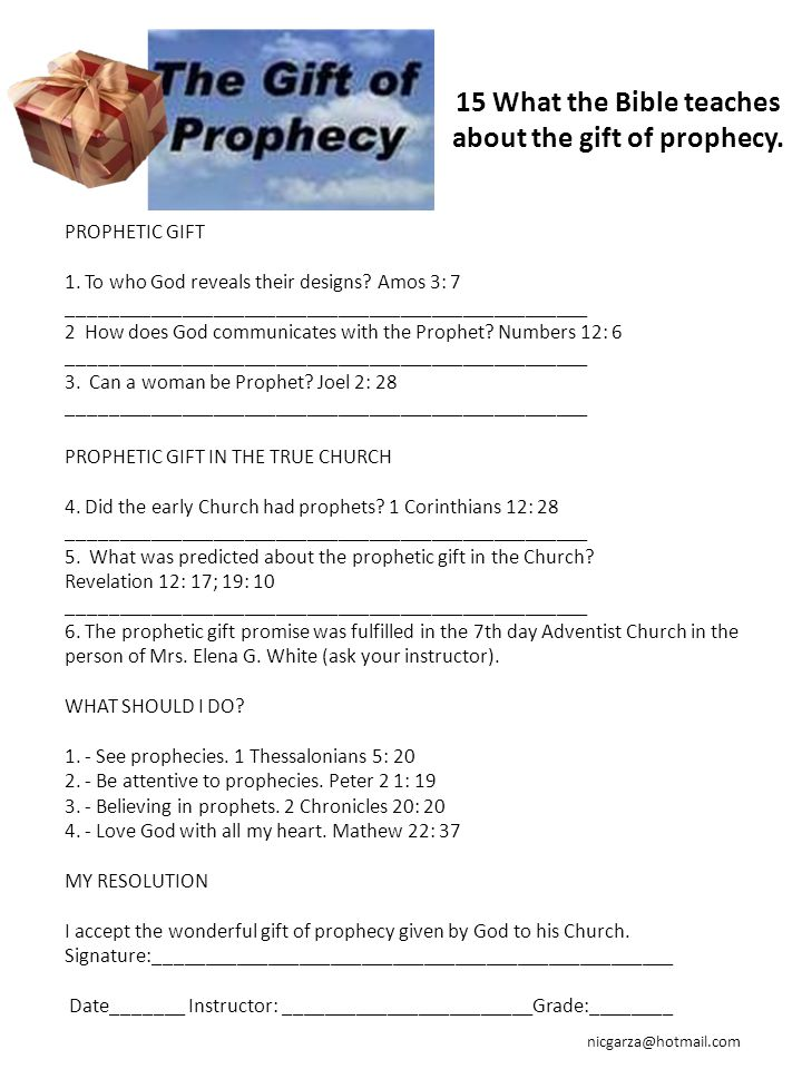 15 What the Bible teaches about the gift of prophecy.