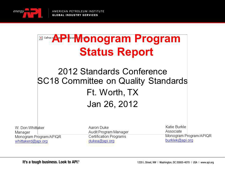 2012 Standards Conference SC18 Committee on Quality Standards