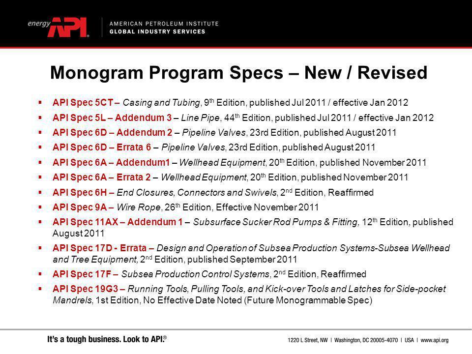 Monogram Program Specs – New / Revised