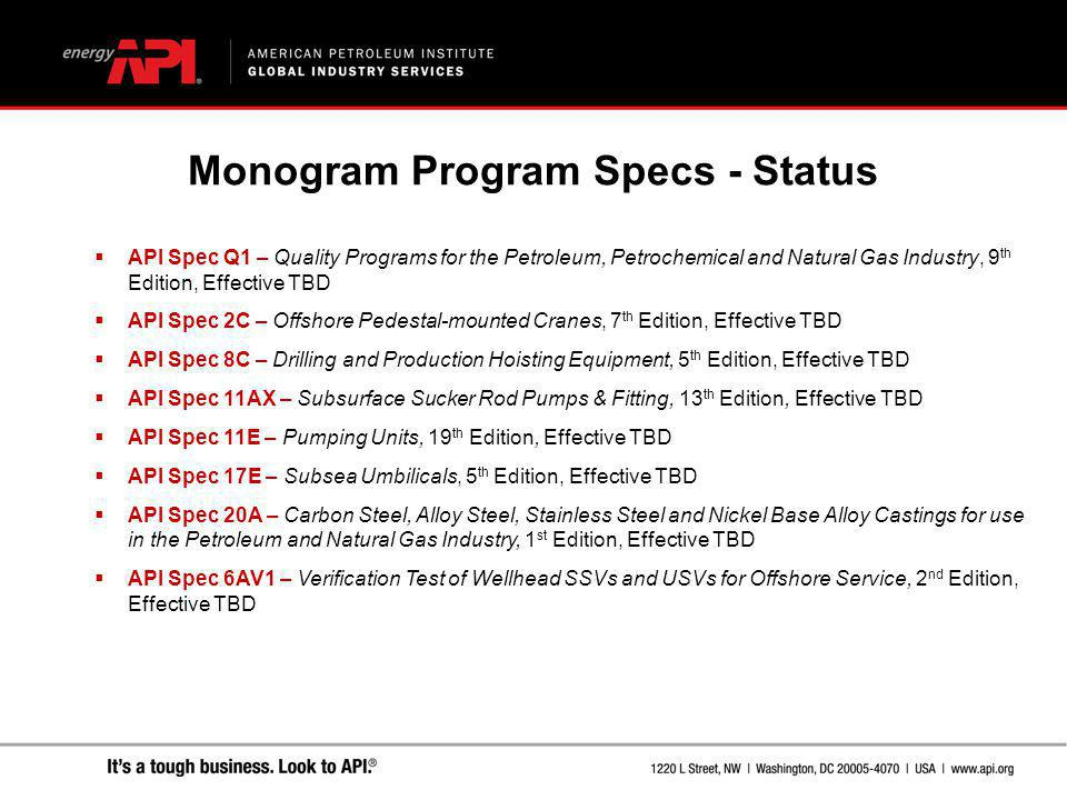 Monogram Program Specs - Status
