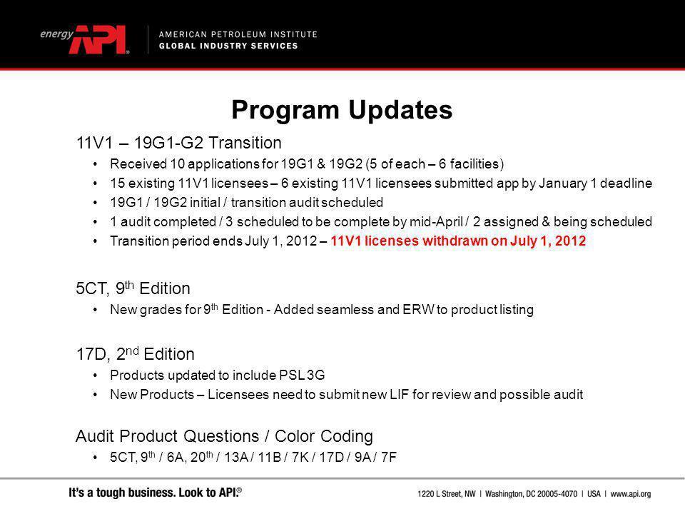 Program Updates 11V1 – 19G1-G2 Transition 5CT, 9th Edition