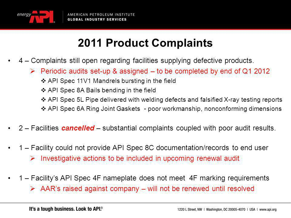 2011 Product Complaints 4 – Complaints still open regarding facilities supplying defective products.