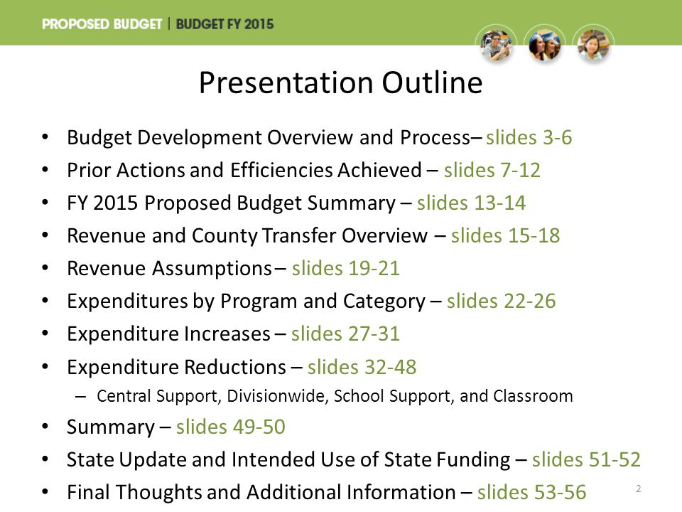 Presentation Outline Budget Development Overview and Process– slides 3-6. Prior Actions and Efficiencies Achieved – slides 7-12.
