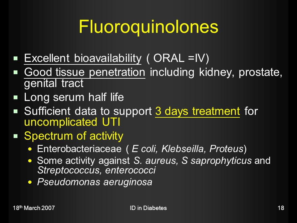 Fluoroquinolones Excellent bioavailability ( ORAL =IV)