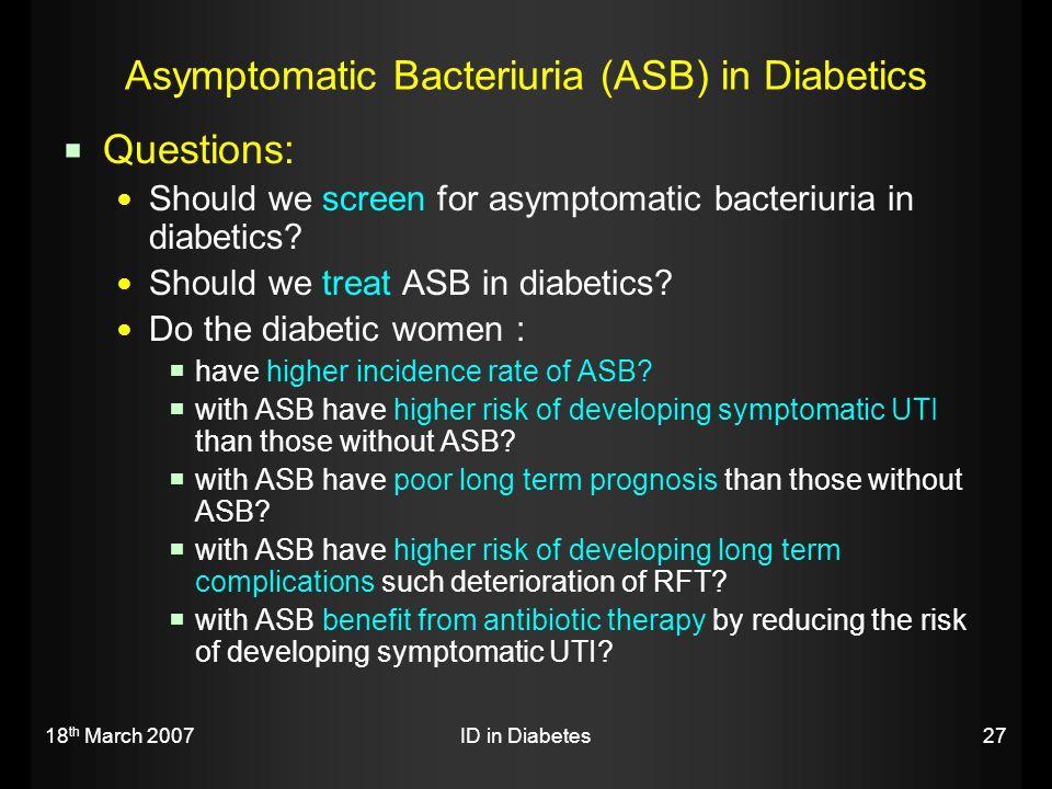 Asymptomatic Bacteriuria (ASB) in Diabetics